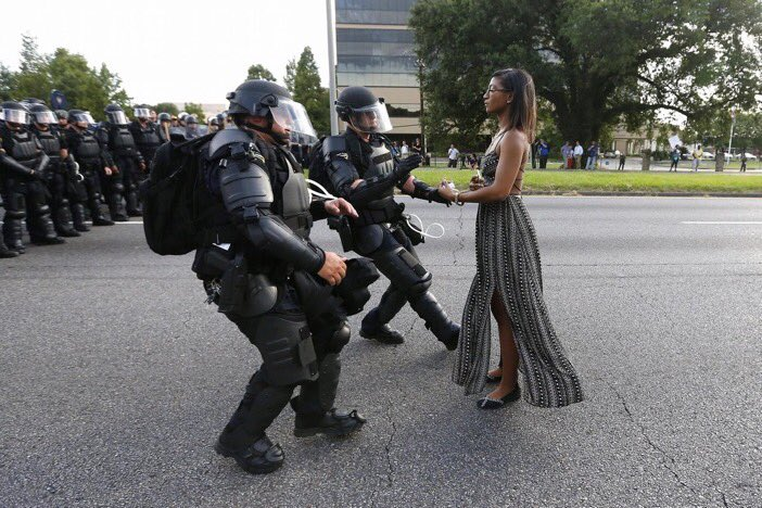 Leshia Evans the Baton Rouge protester with the flowing dress